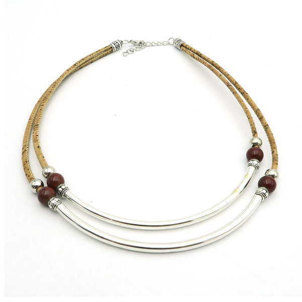 Silver Tube With Beads Cork Necklace - Wish Epic
