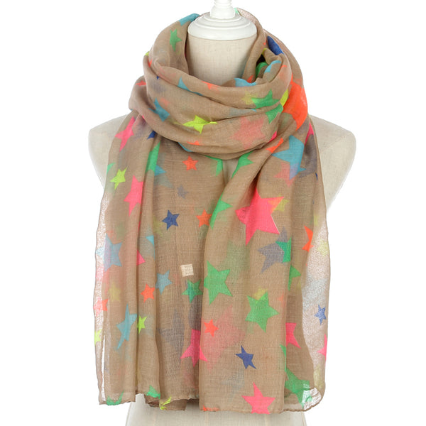 Colorful Rainbow Star Scarf For Ladies - Wish Epic