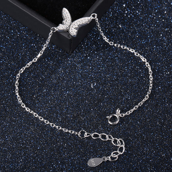 925 Sterling Silver Shiny Butterfly Bracelet - Wish Epic