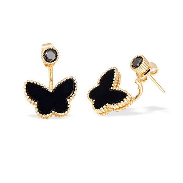 Gold Colors Black Butterfly Double Side Earrings - Wish Epic