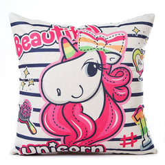 Rainbow Unicorn Pillow Cases (18 x 18 inch)