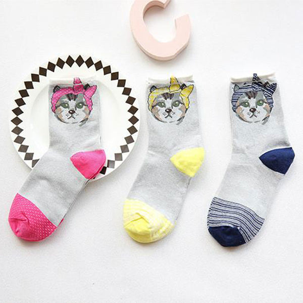 3 Pairs Pretty Cats Cotton Socks - Wish Epic