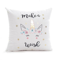 Make A Wish Soft Unicorn Pillow Cases (18 x 18 inch)