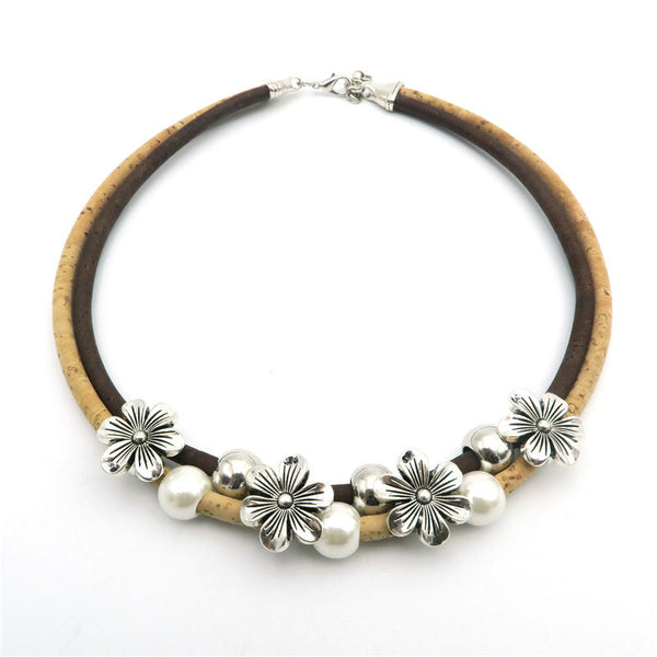Flowers And Pearls Cork Jewelry Set - Wish Epic