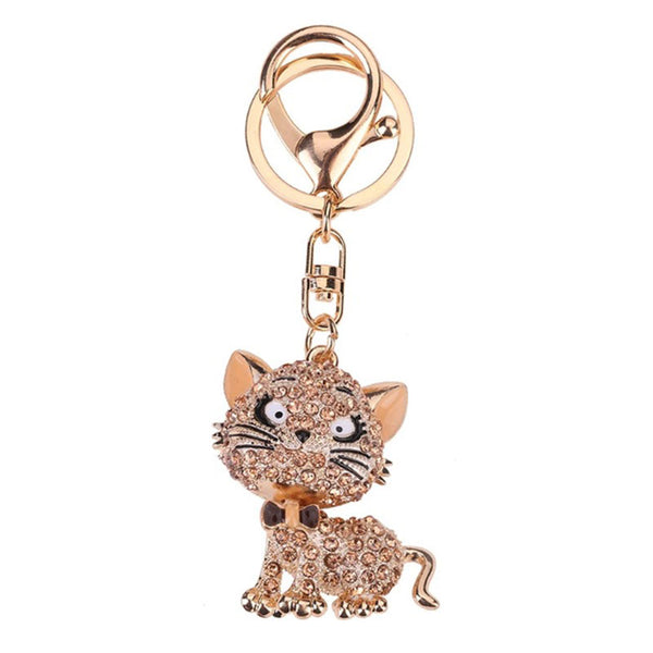 Lovely Cats Rhinestones Keychains - Wish Epic