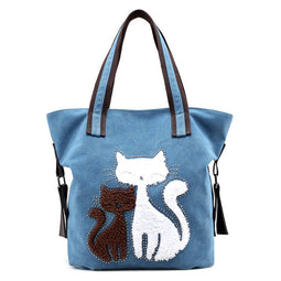 Two Cat Canvas Shoulder Bag