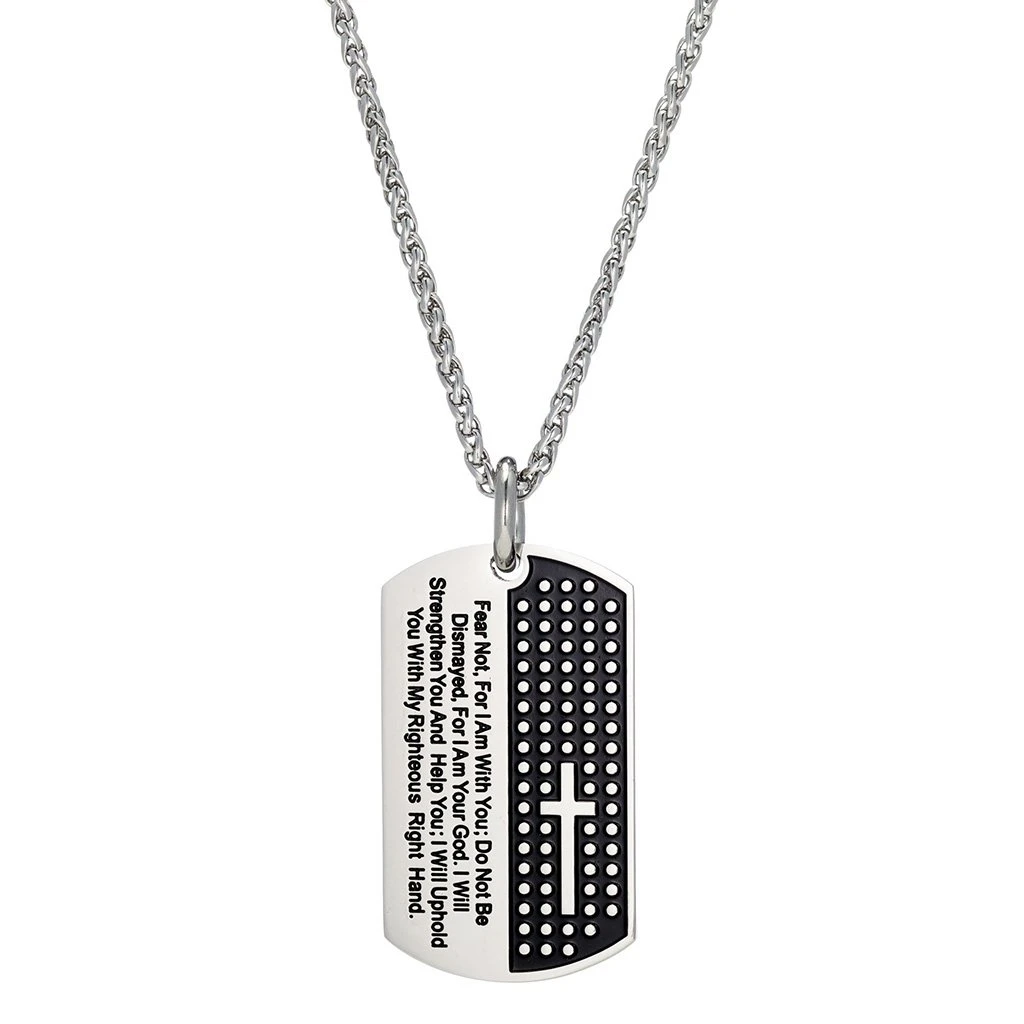 A dog tag necklace with a cross and Bible verse