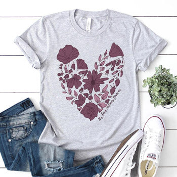 Gray women's t-shirt with a floral heart design
