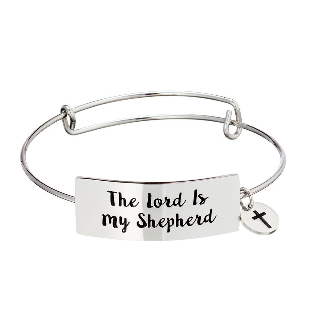 "A silver bangle bracelet that says ""The Lord is My Shepherd"""