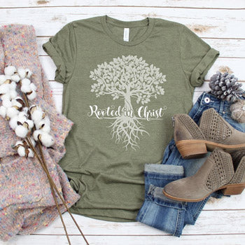 Olive women's t-shirt with Christian tree design