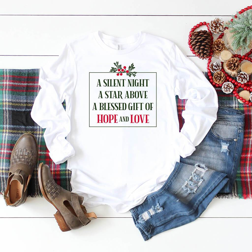 Cozy white shirt with Christmas colors and floral design