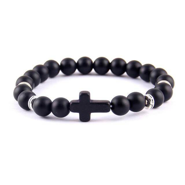Bracelet made of black circular beads and cross