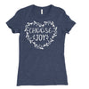 Choose joy t-shirt in junior sizing in a heathered navy blue