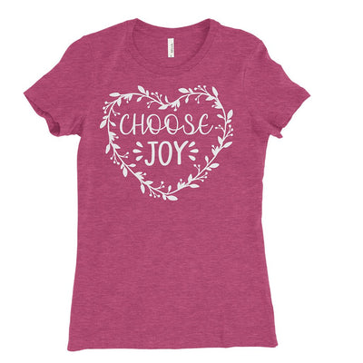 Heather raspberry t-shirt with choose joy design printed in white on the front