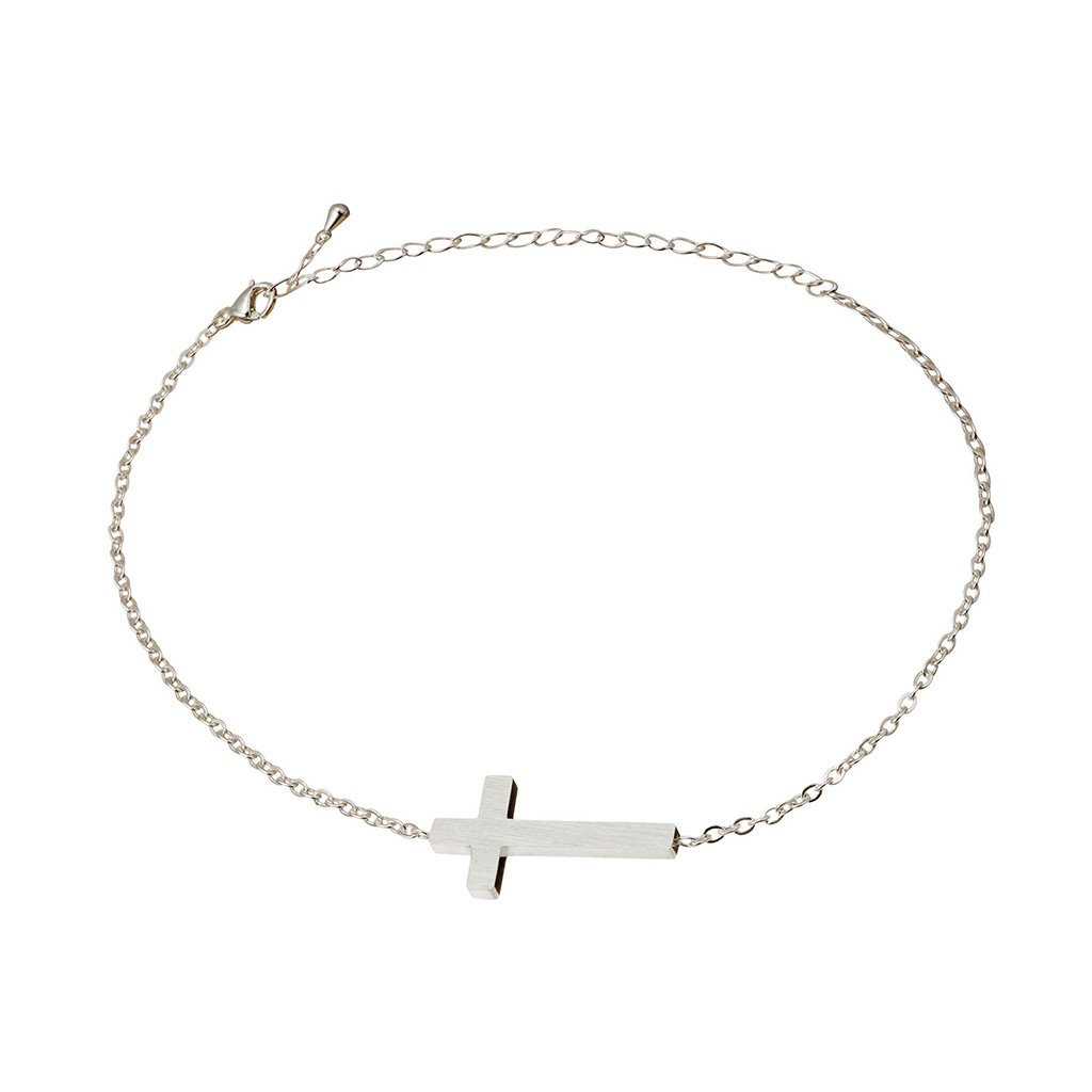 Thin Christian chain bracelet with a cross that sits atop your wrist