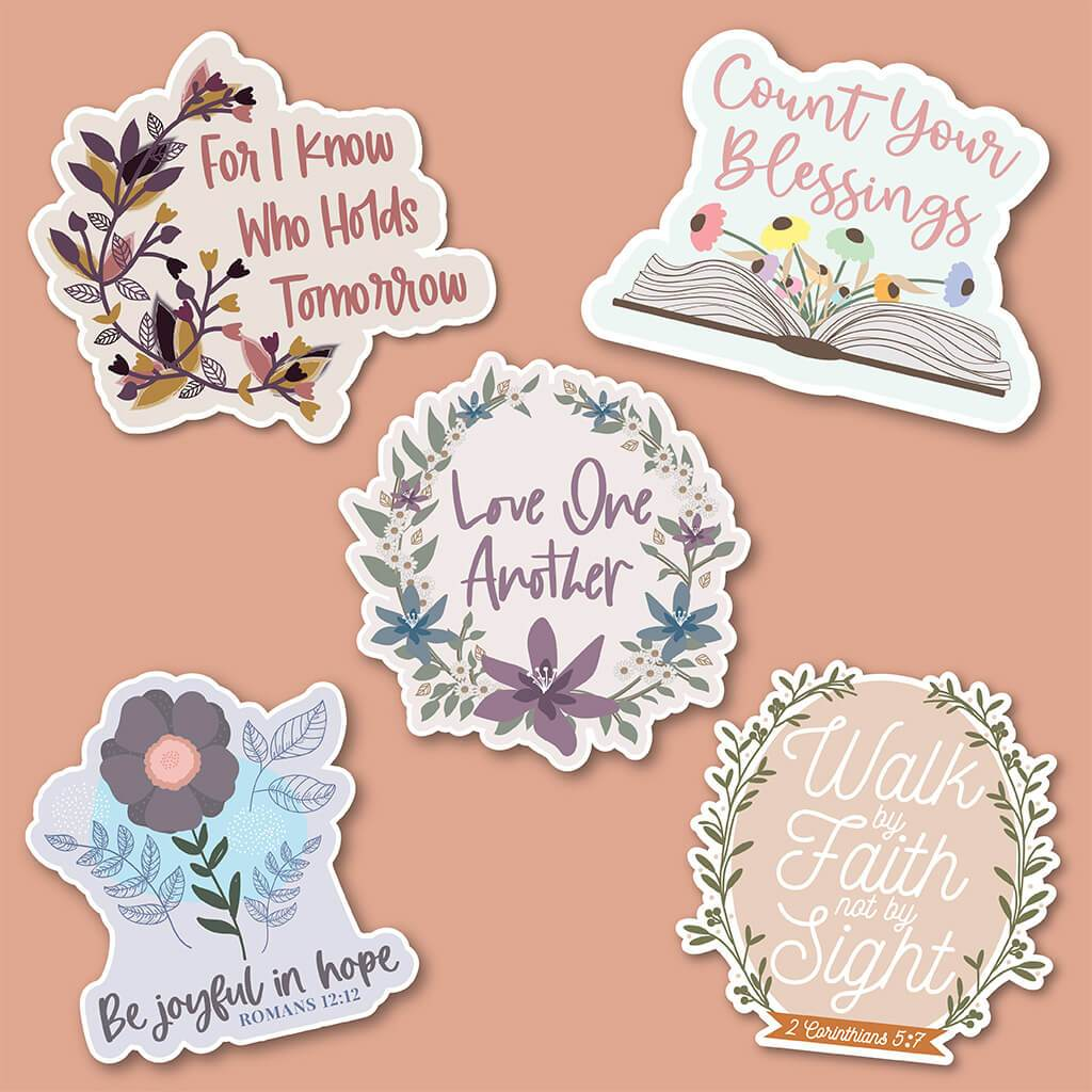5 piece floral Christian sticker pack