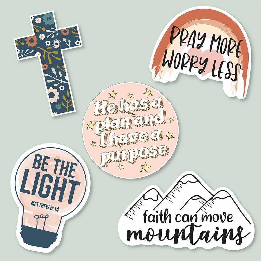 5 piece Christian sticker pack styled for the spring