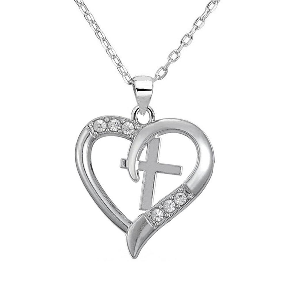 Silver necklace with stunning heart and cross emblem