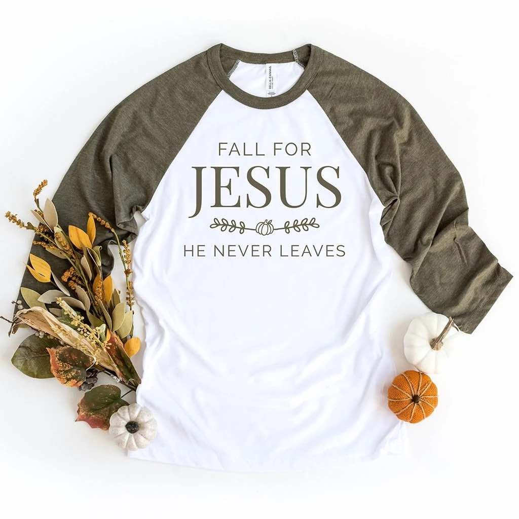"Festive fall decor and an olive raglan shirt which says ""fall for jesus - he never leaves"""