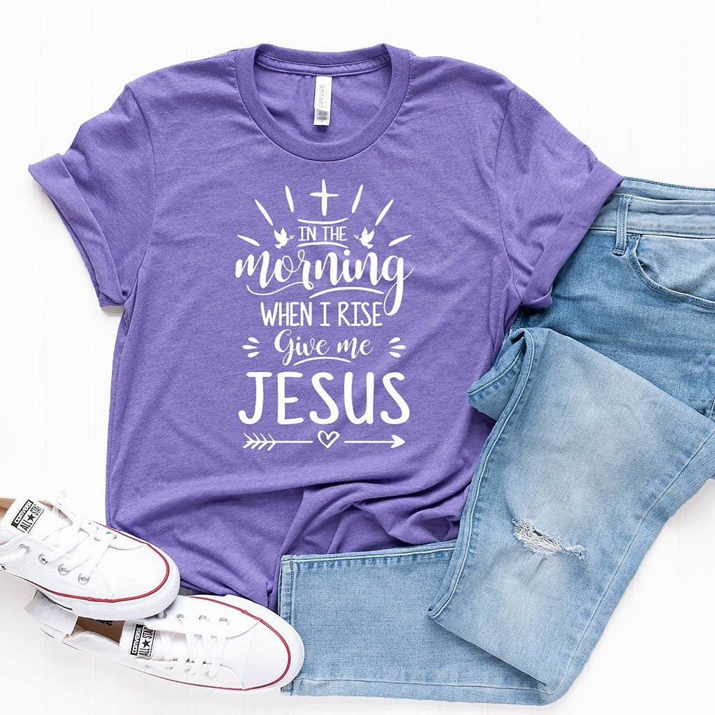 Light purple women's t-shirt with an uplifting Christian message printed in white