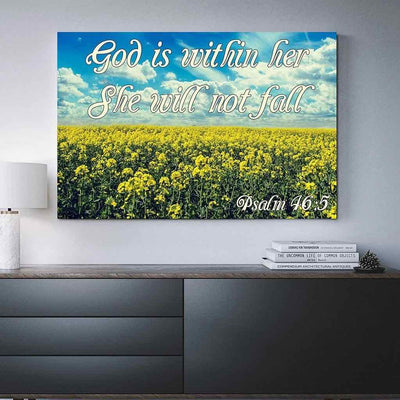 "Hanging against a living room wall is our ""God Is Within Her"" high resolution canvas print"