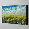 Christian wall art showing a field of flowers and the inspiring verse of Psalm 46:5
