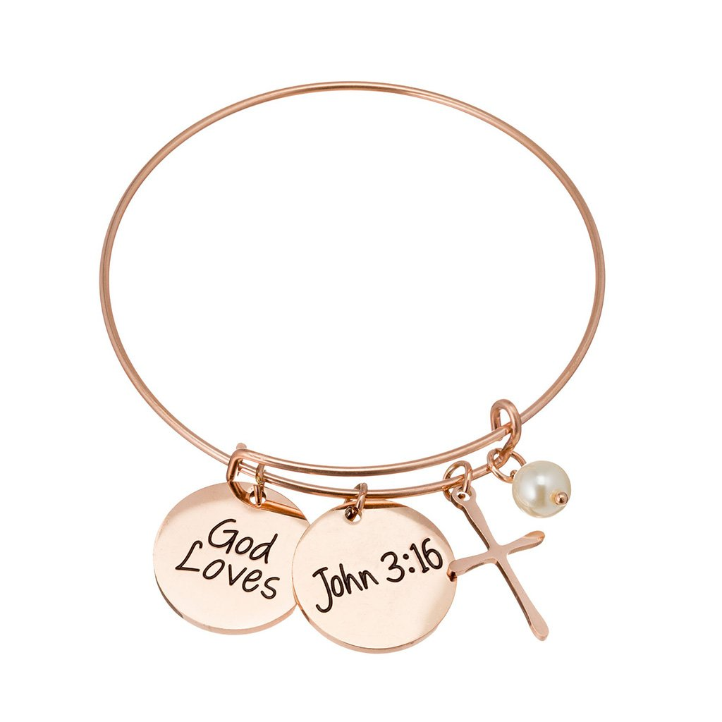 "Rose gold bracelet with cross, pearl, and ""God Loves"" charms"