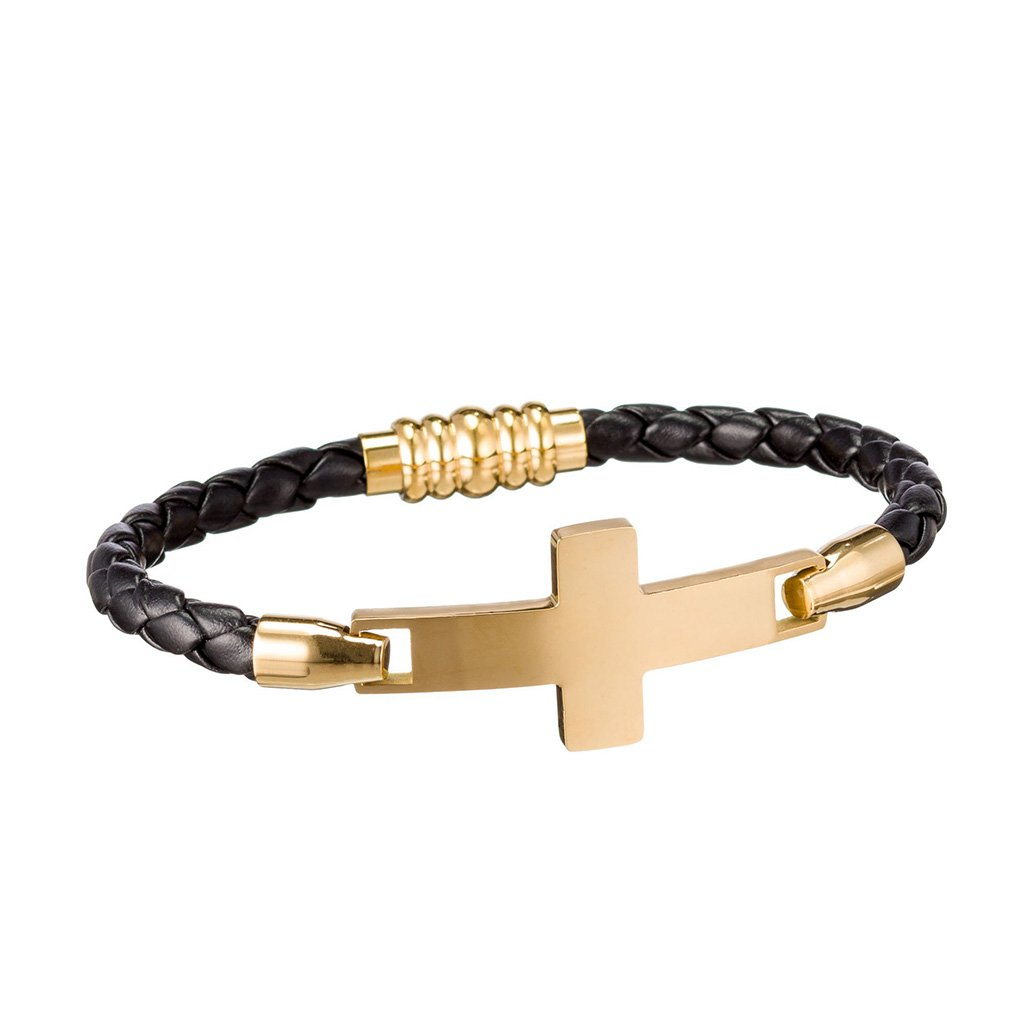 Leather and gold bracelet with magnetic clasp for easy on and off