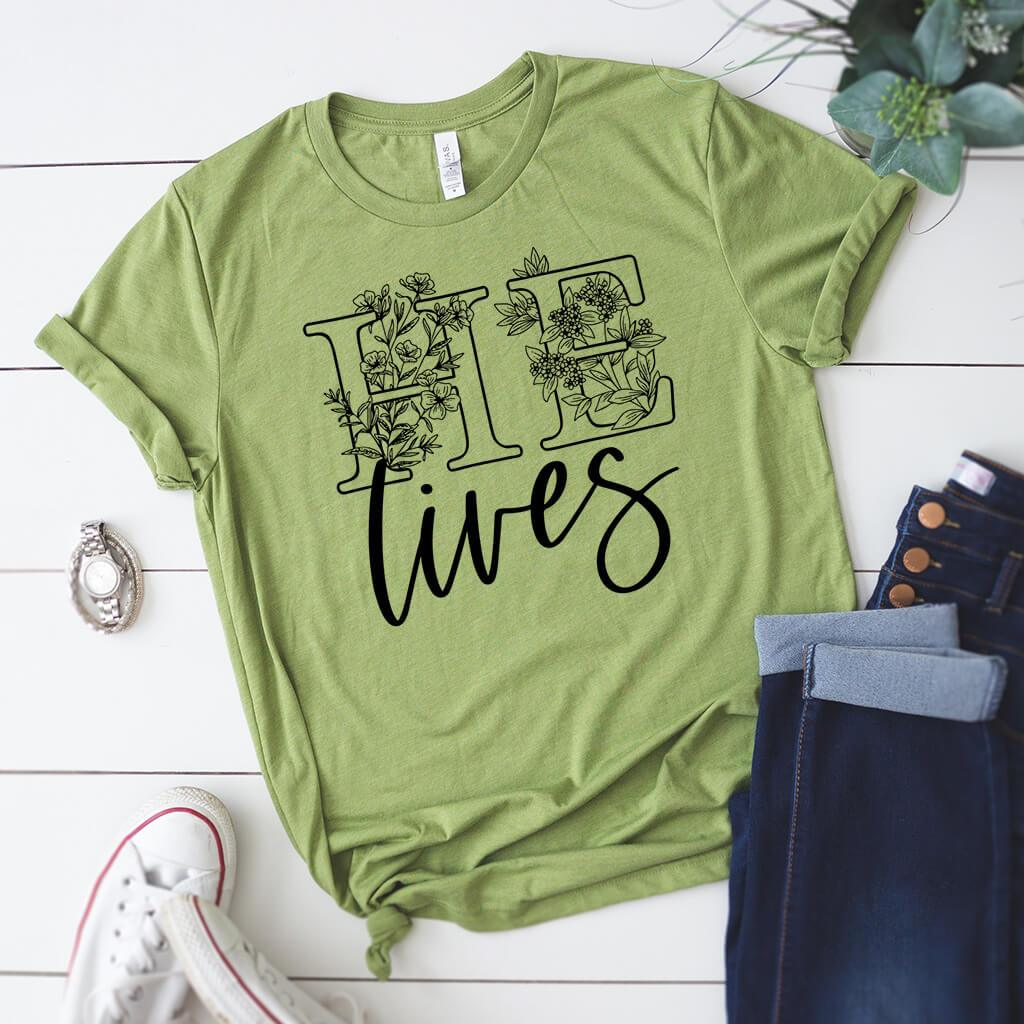 Green Easter t-shirt with matching jeans and sneakers