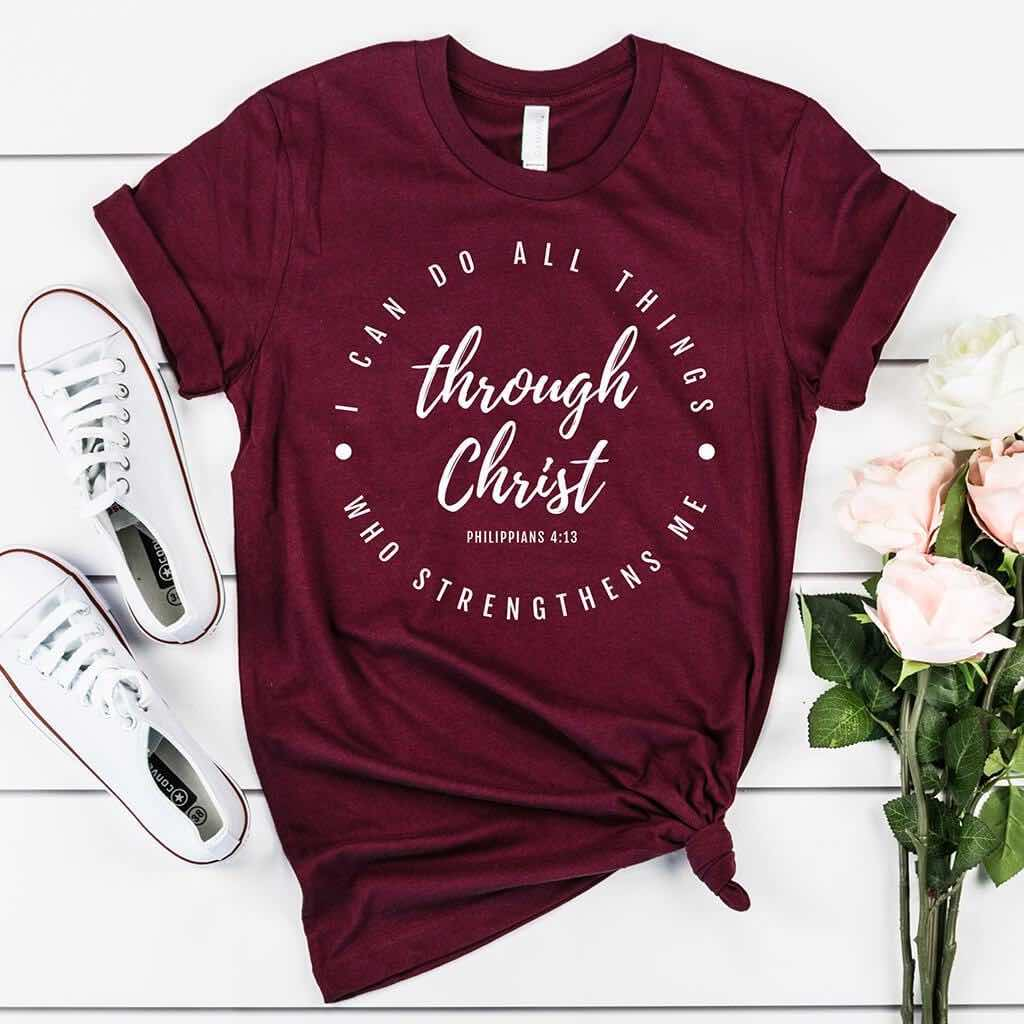 Inspiring Christian shirt with Philippians 4:13 scripture
