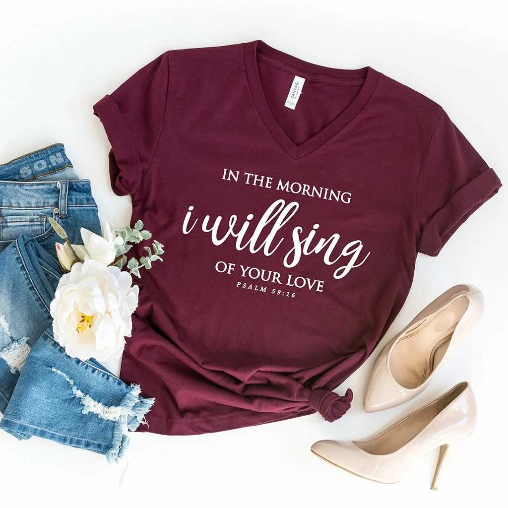 I Will Sing Your Love V Neck Shirt
