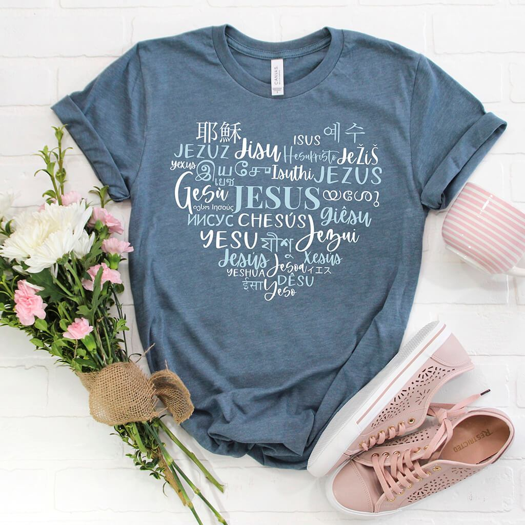 Heart shaped Christian t-shirt design with 30 translations of the name Jesus