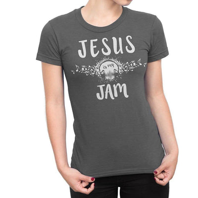 "Young model wearing our junior cut, extra fitted gray shirt that reads ""Jesus is my jam"""