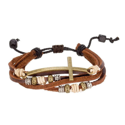 Adjustable leather bracelet with metal cross around the wrist
