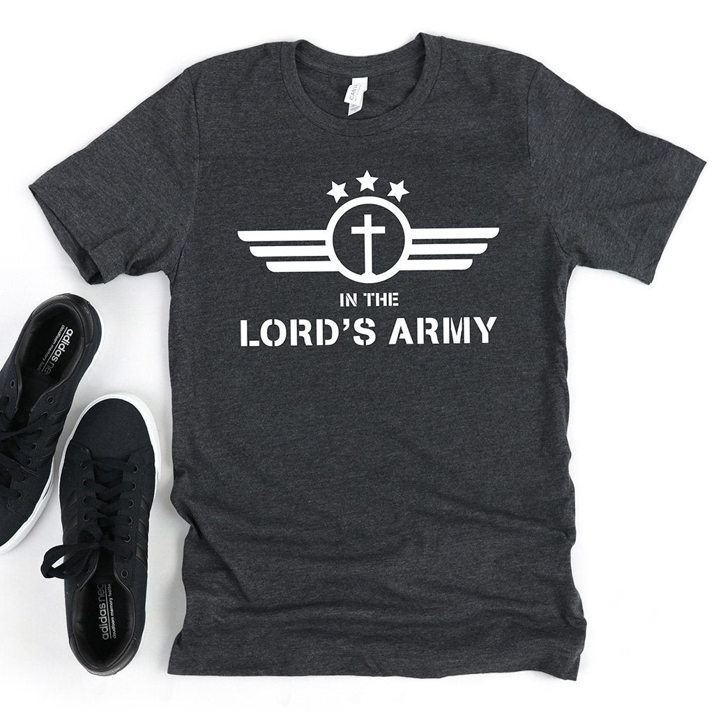 "Men's military style shirt with a cross, three stars, and text that reads ""In the Lord's army"""