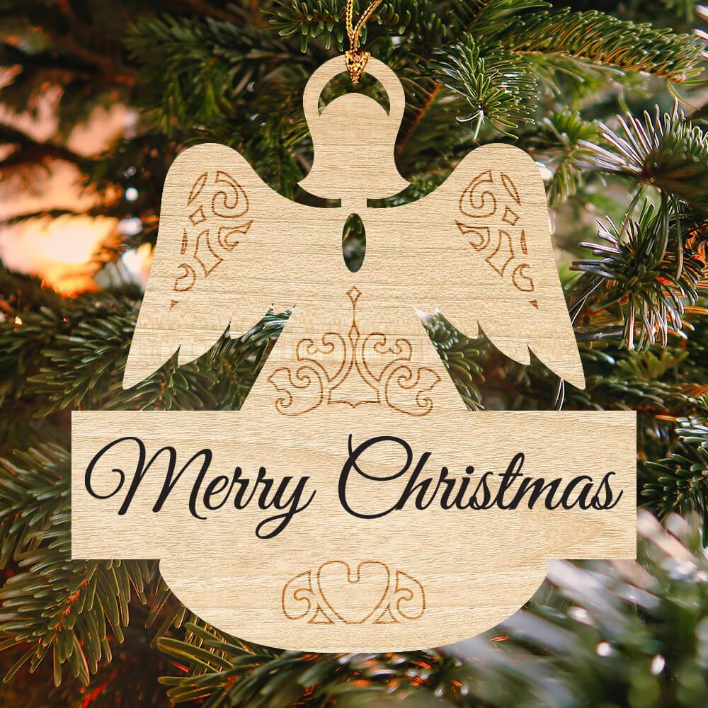 Merry Christmas engraved in black on wooden angel ornament