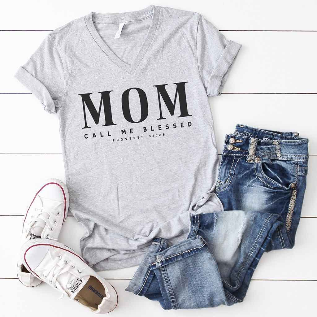 Mom Call Me Blessed V-Neck Shirt