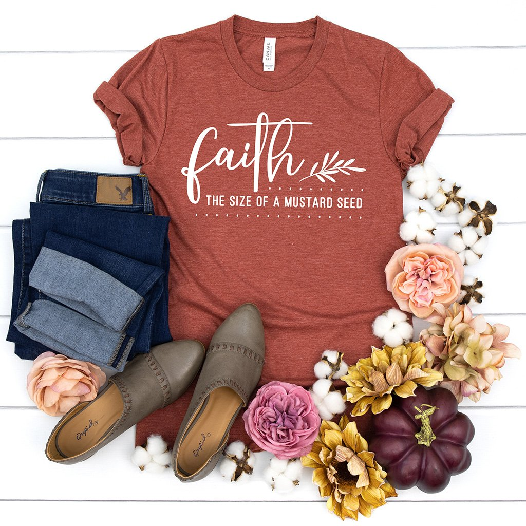 """Faith the size of a mustard seed"" design printed on a fall themed short sleeve t-shirt"