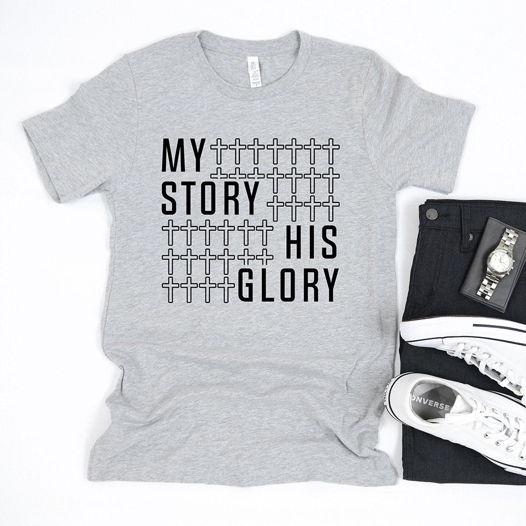 """My story his glory"" with a cross pattern printed on a men's Christian t-shirt"