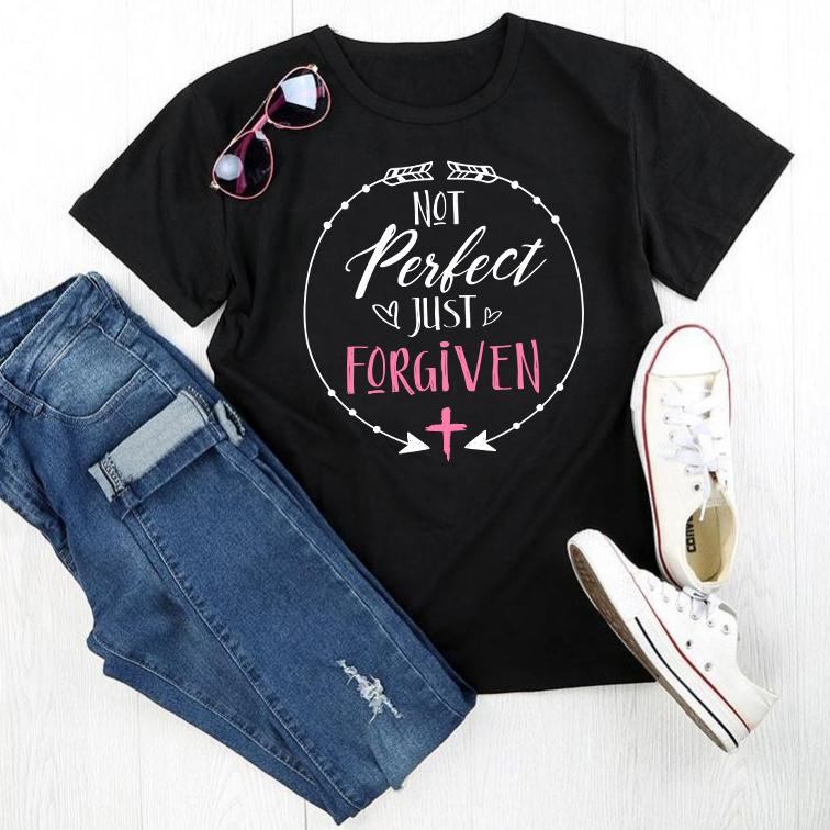 """Not perfect just forgiven"" pink and white design printed on a premium black t-shirt"