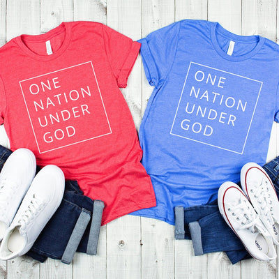 "Blue shirt with a white box and the statement ""one nation under God"""