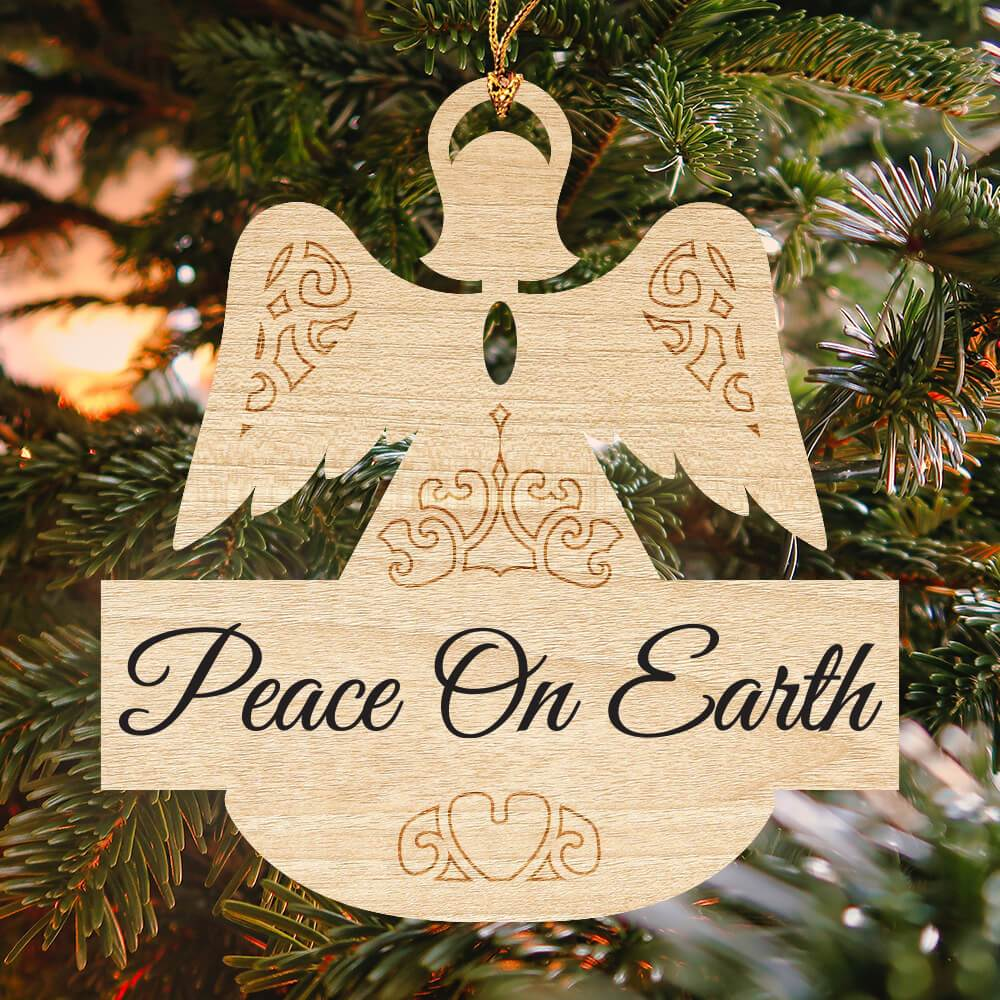 "Laser cut angel ornament with ""peace on earth"" engraving"