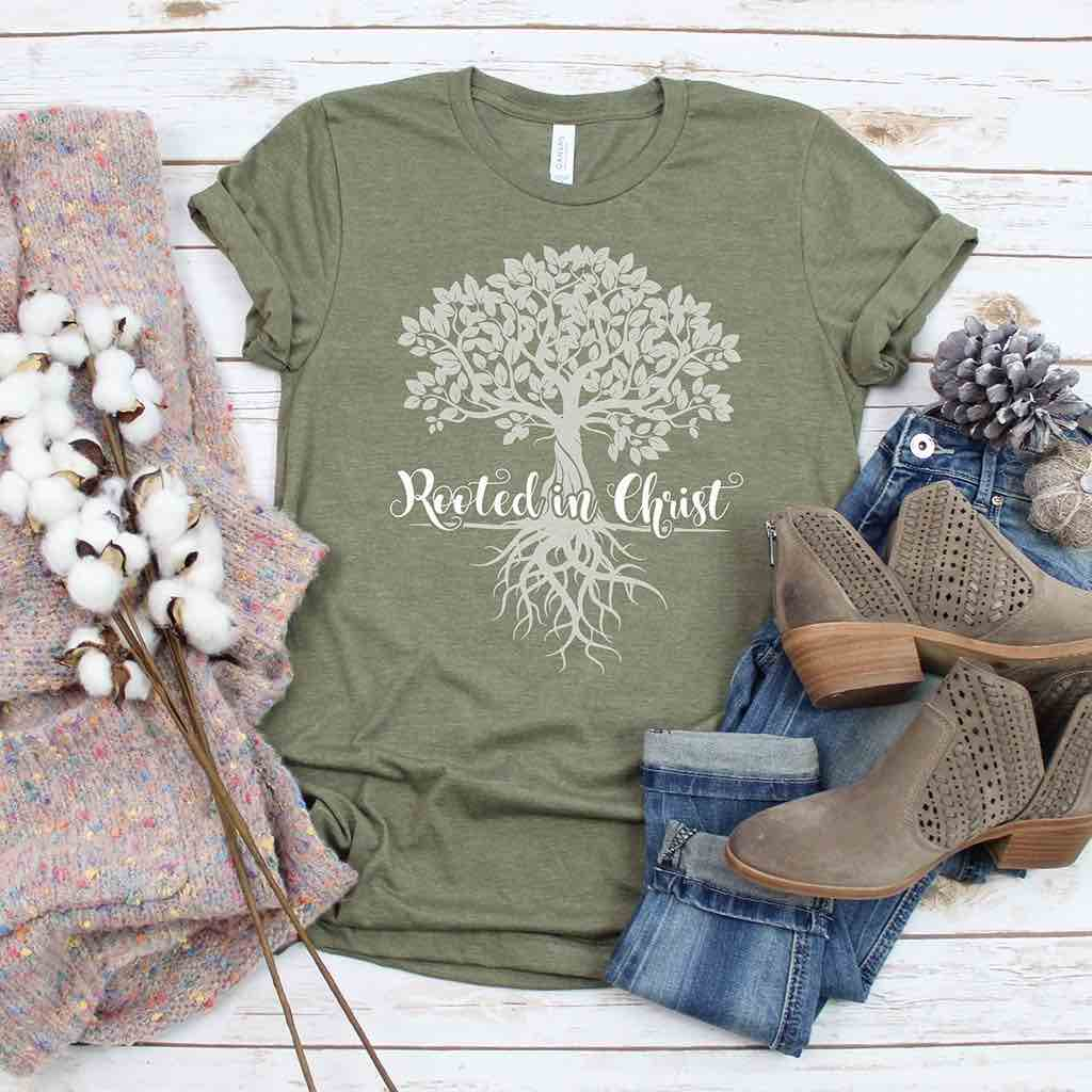 """Rooted in Christ"" tree design on a premium olive shirt"