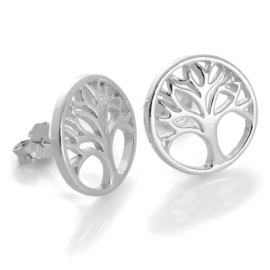 Sterling silver stud earrings featuring the tree of life