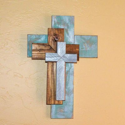 Triple cross comes in three muted colors, perfect for every Christian home