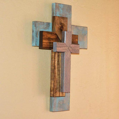 Side view of handmade triple cross