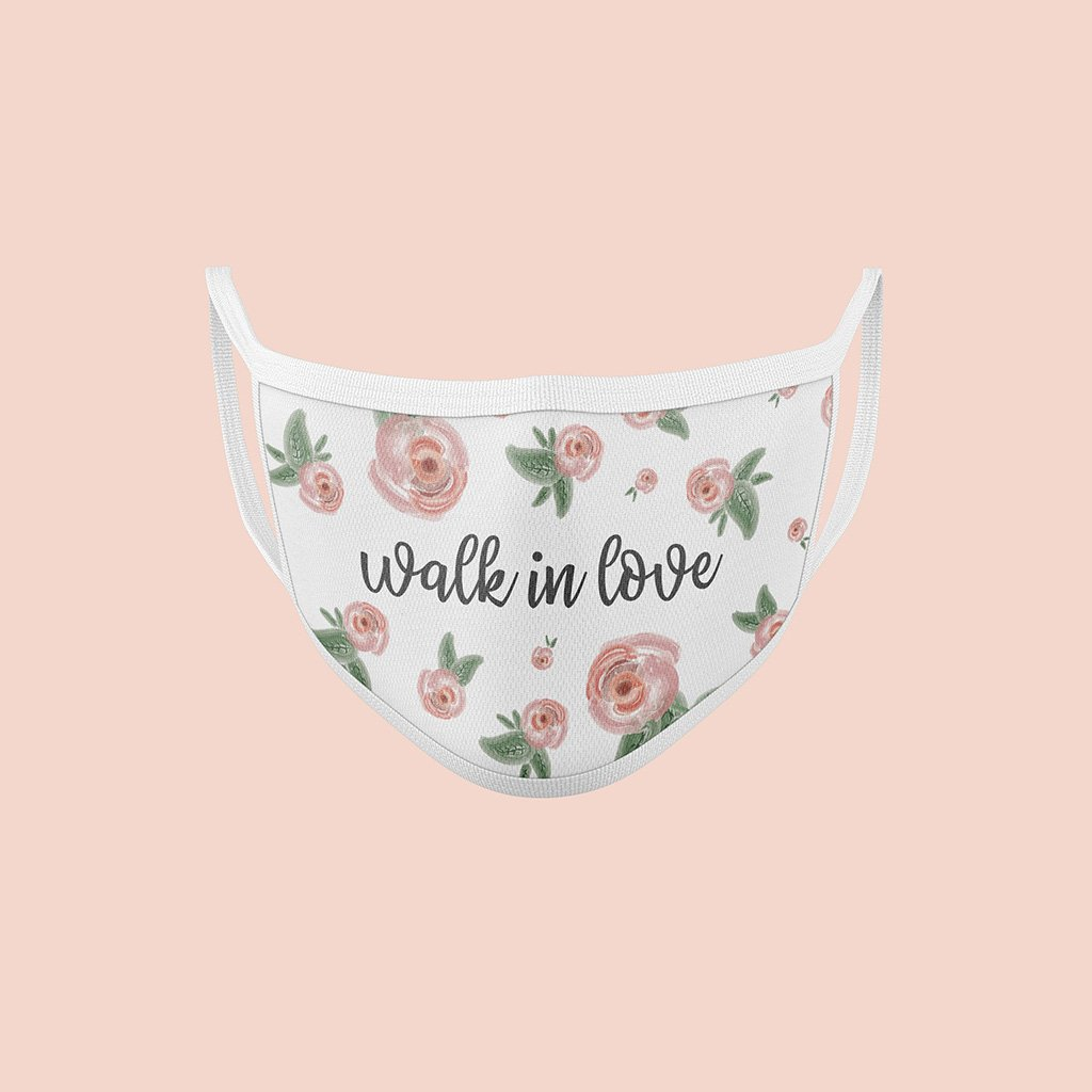 "Washable two layer cotton mask with flowers and ""walk in love"" design"