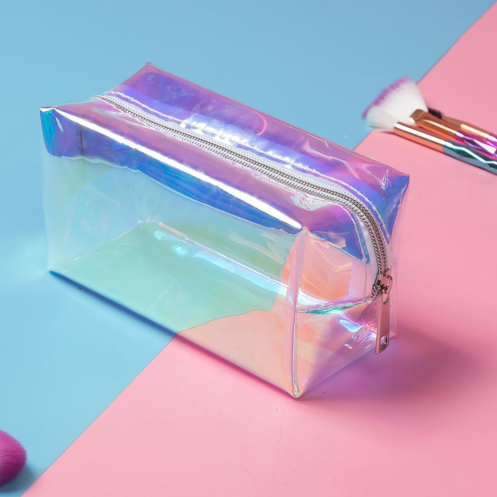 Holographic Transparent Cosmetic Bag