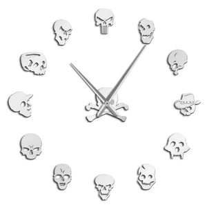 Skull Heads DIY Horror Wall Art Giant Wall Clock