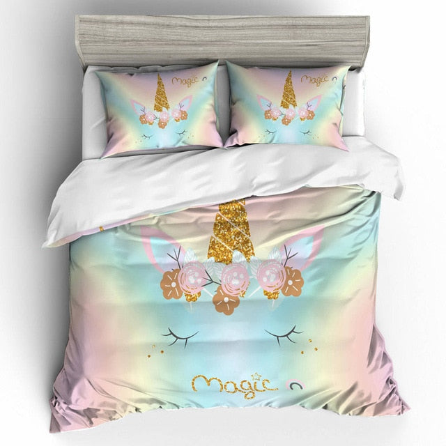 3D Cute Unicorn Bedding sets for girls